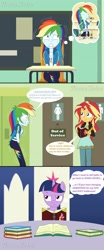 Size: 1920x4608 | Tagged: safe, artist:phantomshadow051, rainbow dash, sunset shimmer, twilight sparkle, pony, equestria girls, equestria girls series, apple cider, bathroom, bottle, comic, crossed legs, desperation, need to pee, omorashi, out of order, potty dance, potty emergency, potty time, request, text, thought bubble, updated