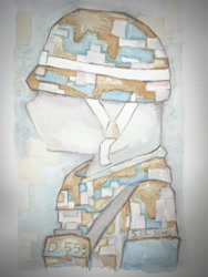Size: 3024x4032 | Tagged: safe, artist:papersurgery, military, solo, traditional art, watercolor painting