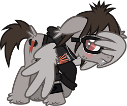 Size: 1221x1019 | Tagged: safe, artist:lightningbolt, pegasus, pony, undead, vampire, vampony, .svg available, bags under eyes, blushing, butt fluff, cheek fluff, clandestine industries, clothes, covering, ear fluff, embarrassed, fangs, floppy ears, fluffy, glasses, hoodie, hoof fluff, jewelry, male, mikey way, my chemical romance, necklace, ponified, raised hoof, shy, simple background, slit eyes, solo, svg, tail feathers, transparent background, vector, wing hands, wings, wristband