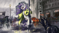 Size: 1920x1080 | Tagged: safe, artist:elisdoominika, rarity, pony, unicorn, car, chest fluff, city, clothes, cloud, cloudy, crying, eyes closed, eyeshadow, female, horn, lamp, makeup, manehattan, mascara, open clothes, open mouth, rain, raincoat, singing, singing in the rain, smiling, solo, storm, street, tears of joy, wet, wet mane