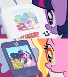 Size: 1280x1440 | Tagged: safe, artist:atariboy2600, edit, screencap, vector edit, luster dawn, princess celestia, twilight sparkle, alicorn, pony, unicorn, ponyville confidential, the last problem, burger, cake, cakelestia, food, full circle, future, future twilight, gabby gums, gossip, hay burger, history repeats itself, ipad, princess twilight 2.0, side by side, tablet, that pony sure does love burgers, twilight burgkle, twilight sparkle (alicorn), unicorn twilight, vector