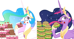 Size: 1883x1000 | Tagged: safe, artist:atariboy2600, edit, vector edit, princess celestia, twilight sparkle, alicorn, the last problem, burger, cake, cakelestia, cakes, food, future, future twilight, gabby gums, hay burger, princess twilight 2.0, side by side, twilight burgkle, twilight sparkle (alicorn), vector