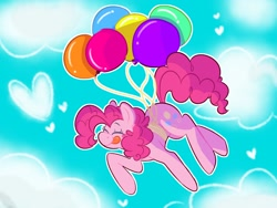 Size: 1600x1200 | Tagged: safe, artist:seabunnybutt, pinkie pie, earth pony, pony, :p, balloon, blushing, cloud, cute, diapinkes, eyes closed, female, floating, flying, heart, mare, sky, solo, then watch her balloons lift her up to the sky, tongue out