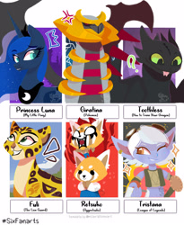 Size: 1280x1561 | Tagged: safe, artist:colinetheneko, princess luna, alicorn, anthro, dragon, giratina, pony, red panda, six fanarts, :p, aggretsuko, angry, anthro with ponies, clothes, cougar, crossover, female, fuli, how to train your dragon, league of legends, looking up, mare, one eye closed, open mouth, peytral, pokémon, retsuko, rule 63, sanrio, smiling, the lion guard, tongue out, toothless the dragon, tristan, white eyes, wink