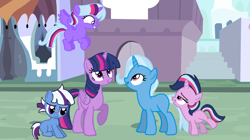 Size: 2004x1120 | Tagged: safe, artist:a01421, artist:turnaboutart, trixie, twilight sparkle, oc, oc:aurora, oc:nebula, oc:sparkle magic, alicorn, family, female, lesbian, magical lesbian spawn, offspring, parent:trixie, parent:twilight sparkle, parents:twixie, shipping, twilight sparkle (alicorn), twixie