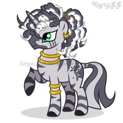 Size: 2000x2000 | Tagged: safe, artist:keyrijgg, oc, hybrid, unicorn, zebra, zony, adoptable, auction, simple background, watermark, white background, zony oc
