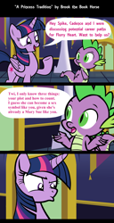 Size: 1920x3761   Tagged: safe, artist:brook the book horse, edit, spike, twilight sparkle, alicorn, dragon, pony, brutal honesty, butt, comic, dialogue, female, high res, implied flurry heart, implied princess cadance, male, mare, misspelling, plot, shipping, speech bubble, straight, twilight is not amused, twilight sparkle (alicorn), twilight's castle, twispike, unamused, winged spike