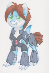 Size: 856x1280 | Tagged: artist needed, safe, oc, oc only, oc:savage shark, original species, shark, shark pony, armor, claws, commission, cropped tail, fangs, fin, grin, male, night guard armor, scar, simple background, smiling, solo, traditional art, white background