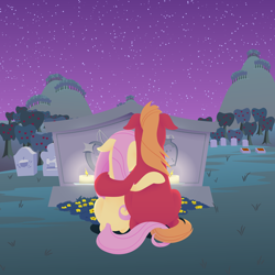 Size: 2880x2880   Tagged: safe, anonymous artist, big macintosh, fluttershy, earth pony, pegasus, pony, series:fm holidays, candle, candlelight, facing away, female, floppy ears, flower, fluttermac, gravestone, graveyard, hoof around neck, hoof on shoulder, implied bright mac, implied pear butter, intertwined tails, lineless, male, mare, missing accessory, night, shipping, stallion, stars, straight, sweet apple acres, tail