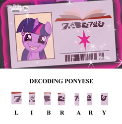 Size: 1920x1952 | Tagged: safe, edit, edited screencap, screencap, twilight sparkle, pony, unicorn, the point of no return, adorkable, alien language, barcode, cute, derp, discovery family logo, dork, faic, female, grin, happy, hieroglyphics, levitation, library card, looking at you, magic, magic aura, mare, open mouth, smiling, solo, sparkles, telekinesis, theory, twiabetes, unicorn twilight, written equestrian