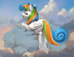 Size: 1200x933 | Tagged: safe, artist:jotun22, pegasus, pony, cloud, female, looking at you, looking back, looking back at you, lying on a cloud, mare, on a cloud, prone, rear view, solo, underhoof