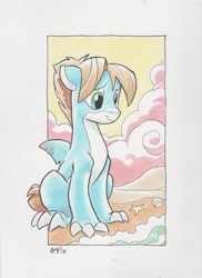 Size: 931x1280 | Tagged: safe, artist:tonyfleecs, oc, oc only, oc:savage shark, original species, shark, shark pony, starfish, beach, claws, cloud, commission, fin, floppy ears, male, seashell, sitting, smiling, solo, traditional art, water, wave