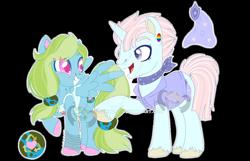 Size: 1280x824 | Tagged: safe, artist:lemonkaiju, oc, oc only, oc:eco green, oc:security blanket, pegasus, pony, unicorn, female, magical lesbian spawn, male, mare, offspring, parent:blossomforth, parent:lyra heartstrings, parent:moondancer, parent:shining armor, simple background, stallion, transparent background