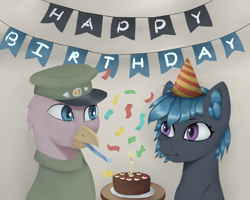 Size: 1280x1024 | Tagged: safe, artist:monx94, oc, oc only, griffon, pony, equestria at war mod, cake, food, hat, party hat
