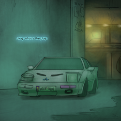 Size: 800x800 | Tagged: safe, artist:captainhoers, the sunjackers, canterlot, car, cyberpunk, new canterlot