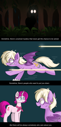 Size: 1864x3872 | Tagged: safe, artist:pencil bolt, oc, oc only, oc:pinkfull night, oc:ruby radiance, bat pony, pony, unicorn, bat pony oc, bat wings, broken glass, bullet, chase, comic, fangs, female, forest, glasses, glowing eyes, gritted teeth, hunted, looking at each other, looking at you, mare, messy mane, reassurance, running, scratches, shadow, slit eyes, staring at you, teenager, wings