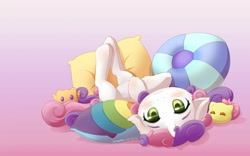 Size: 1600x1000   Tagged: safe, artist:symbianl, sweetie belle, pony, unicorn, behaving like a cat, blushing, cute, diasweetes, female, filly, floppy ears, on back, pillow, smiling, solo, upside down