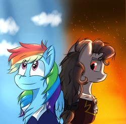 Size: 900x888 | Tagged: safe, artist:countessblazy, rainbow dash, pony, duality, rainbow dantes, solo, the count of monte cristo