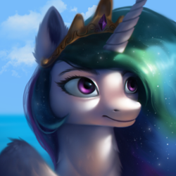 Size: 2000x2000 | Tagged: safe, artist:emeraldparrot, princess celestia, alicorn, pony, bust, female, mare, portrait, solo, uncanny valley