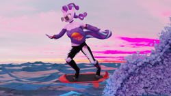 Size: 3840x2160 | Tagged: safe, artist:jdash, seaspray, starlight glimmer, anthro, 3d, aviator glasses, blender, blender cycles, boots, choker, clothes, dawn, fast, glasses, hoof boots, hoof shoes, hoverboard, nexgen, ocean, ripped pants, shirt, shoes, vaporwave