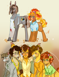 Size: 1500x1932 | Tagged: safe, artist:bunnari, cheese sandwich, mudbriar, oc, oc:cheddar fondue, oc:clay pot pasta, oc:curly fries, oc:pepper sandwich, oc:rock salt soup, earth pony, pony, female, male, mare, stallion