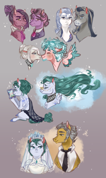 Size: 1200x2000 | Tagged: safe, artist:bunnari, cloudy quartz, granny pie, igneous rock pie, nana pinkie, oc, oc:alabaster stone, oc:cloud puff, oc:feldspar granite, oc:immaculate quartz, oc:milky quartz, earth pony, pegasus, pony, clothes, dress, female, male, mare, stallion, wedding dress, younger
