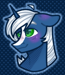 Size: 1300x1500 | Tagged: safe, artist:dozhdoley, oc, oc only, oc:passi deeper, pony, unicorn, abstract background, blushing, bust, colored pupils, ear blush, floppy ears, green eyes, horn, male, portrait, smiling, solo, stallion, starry eyes, unicorn oc, wingding eyes