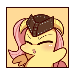 Size: 500x500 | Tagged: safe, artist:php56, edit, fluttershy, pegasus, pony, :o, chibi, cropped, dovahshy, eyes closed, female, hat, helmet, horned helmet, open mouth, solo
