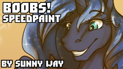 Size: 1280x720   Tagged: safe, artist:sunny way, princess luna, alicorn, anthro, bust, female, happy, hoers, horn, looking down, patreon, patreon reward, rcf community, smiley face, smiling, solo, speedpaint, video, video in description