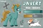 Size: 2383x1543 | Tagged: safe, artist:redpalette, oc, oc:javert, dog, unicorn, cigar, cute, male, pet, reference sheet, smiling, smoking, stallion
