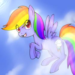 Size: 600x600 | Tagged: safe, artist:xxdeidannaxx, rainbow dash, pegasus, pony, cloud, cute, dashabetes, eye clipping through hair, female, mare, open mouth, sky, solo