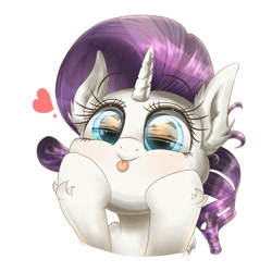 Size: 1900x1900 | Tagged: safe, artist:phoenixrk49, rarity, pony, unicorn, :p, bust, cute, ear fluff, female, heart, leg fluff, mare, portrait, raribetes, silly, silly pony, simple background, solo, tongue out, white background