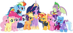 Size: 1333x600 | Tagged: safe, artist:emeraldblast63, applejack, fluttershy, luster dawn, pinkie pie, rainbow dash, rarity, spike, starlight glimmer, sunset shimmer, trixie, twilight sparkle, alicorn, dragon, earth pony, pony, unicorn, the last problem, ending, future, group, group photo, groupshot, mane nine, mane seven, mane six, older, older applejack, older fluttershy, older mane seven, older mane six, older pinkie pie, older rainbow dash, older rarity, older spike, older sunset, older twilight, princess twilight 2.0, simple background, the end, transparent background, twilight sparkle (alicorn), winged spike
