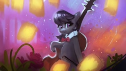 Size: 1920x1080 | Tagged: safe, artist:hierozaki, octavia melody, earth pony, semi-anthro, bipedal, cello, female, flower, lantern, mare, musical instrument, solo