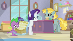 Size: 1920x1080 | Tagged: safe, screencap, rarity, spike, pony, dragon dropped, unnamed character, unnamed pony