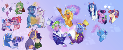 Size: 4899x2000 | Tagged: safe, artist:bunnari, big bucks, clover the clever, jack pot, moondancer, night light, shining armor, spike, sunflower spectacle, trixie, twilight, twilight sparkle, twilight velvet, twinkle twirl, oc, oc:candlelight, oc:comet spin, oc:lulanueva, oc:night owl, dragon, pony, unicorn, female, high res, magic, male, mare, stallion