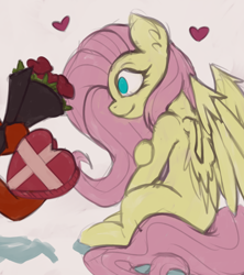 Size: 1024x1152 | Tagged: safe, artist:marsminer, fluttershy, oc, bouquet, box of chocolates, chocolate, flower, food, no pupils, offscreen character, profile
