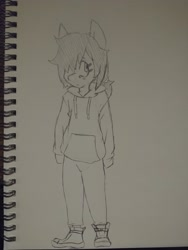 Size: 3120x4160   Tagged: safe, artist:shpace, oc, oc:floor bored, anthro, clothes, hair over one eye, hoodie, monochrome, sketchbook, solo, traditional art