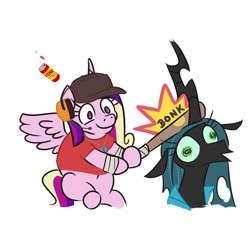 Size: 2250x2250 | Tagged: safe, artist:jargon scott, artist:tjpones, edit, princess cadance, queen chrysalis, alicorn, changeling, changeling queen, pony, baseball bat, bonk, crossover, duo, female, hoof hold, mare, scout, simple background, team fortress 2, white background