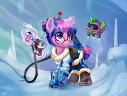 Size: 4000x3000 | Tagged: safe, artist:lilfunkman, spike, twilight sparkle, pony, robot, unicorn, boots, clothes, coat, cosplay, costume, cute, duo, glasses, glowing horn, gun, hairpin, high res, horn, ice, magic, magic aura, mei, overwatch, shoes, snow, twiabetes, twimei, weapon