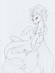 Size: 1238x1654 | Tagged: safe, artist:longinius, queen novo, seapony (g4), my little pony: the movie, blushing, bubble, crown, female, fin wings, fins, fish tail, heart, jewelry, monochrome, necklace, pretty, queen, regalia, seashell necklace, simple background, smiling, solo, tail, traditional art, underwater, white background, wings