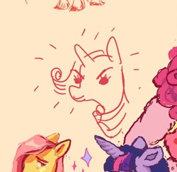 Size: 1120x1094   Tagged: safe, artist:cckatoo, artist:marlomogensen, fluttershy, rarity, twilight sparkle, anthro, earth pony, pegasus, pony, unicorn, orange background, simple background, sparkles