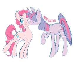 Size: 1280x1118 | Tagged: safe, artist:waackery, pinkie pie, twilight sparkle, earth pony, pony, unicorn, cute, female, lesbian, nuzzling, raised leg, shipping, simple background, twinkie, unicorn twilight, white background
