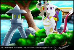 Size: 2300x1552 | Tagged: safe, artist:bonaxor, discord, princess celestia, alicorn, draconequus, fanfic:celestia's new life, bald, dislestia, embrace, eyeshadow, female, garden, hairless tail, happy, husband and wife, jewelry, lake, makeup, male, married couple, necklace, pearl necklace, preglestia, pregnant, shipping, smiling, straight
