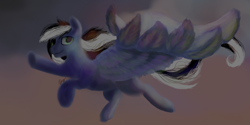 Size: 1000x500 | Tagged: safe, oc, oc:bronylicious, oc:bronylicous, oc:buffonsmash, pegasus, pony, beautiful, black, black and white, blue, cloud, colorful, colors, dark colors, digital, digital art, eyes open, feather, flying, food, gray, grayscale, green, looking, looking at you, monochrome, orange, painting, purple, reaching, reaching out, red, shading, white
