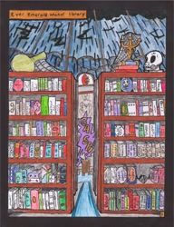 Size: 2514x3274 | Tagged: safe, artist:oatmeal155, comic:oat.meal, book, bookshelf, comic, library, rain, skull, traditional art