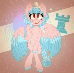 Size: 1280x1267   Tagged: safe, artist:softcubes, cozy glow, pegasus, pony, abstract background, both cutie marks, chess piece, colored hooves, colored wings, colored wingtips, freckles, golly, signature, smiling, solo, speedpaint available