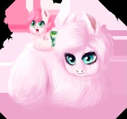 Size: 689x646 | Tagged: safe, artist:unoriginai, oc, oc only, oc:fluffle puff, oc:love bug, hybrid, cute, cute little fangs, duo, fangs, fluffy, interspecies offspring, magical lesbian spawn, offspring, parent:oc:fluffle puff, parent:queen chrysalis, parents:canon x oc, parents:chrysipuff, realistic, simple background, transparent background