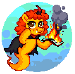 Size: 637x632 | Tagged: safe, oc, oc only, oc:pipadeaxkor, demon, demon pony, original species, colt quest, fire, freedom, pixel art, simple background, white background
