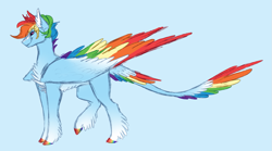Size: 1135x632 | Tagged: safe, artist:starlitartican, rainbow dash, pegasus, blaze (coat marking), blue background, coat markings, colored hooves, colored wings, colored wingtips, facial markings, female, leonine tail, mare, multicolored wings, profile, rainbow wings, redesign, short hair, simple background, smiling, socks (coat markings), solo, tail feathers, wings